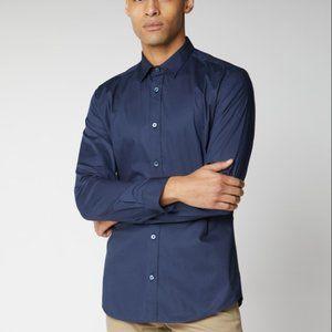 Ben Sherman Navy Blue Stretch Poplin Shirt Size